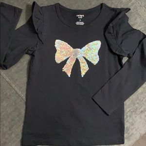 Carters Kid flip sequin ruffle sleeve shirt sz. 7